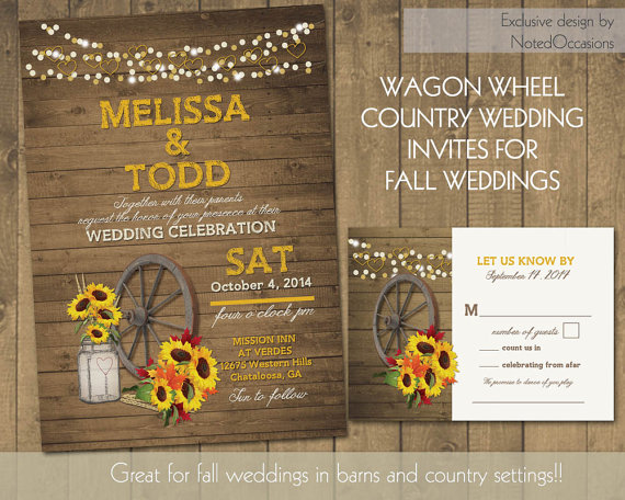 Rustic Sunflower Wedding Invitations Suite Country Western Wagon ...