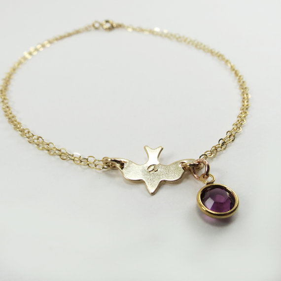 Mariage - Charm Bracelet, 14kt Gold Bracelet, Bridesmaid Bracelet,Birthstone Bracelet,Friendship Bracelet,Bridesmaid Gift Idea,Initial Letter Bracelet
