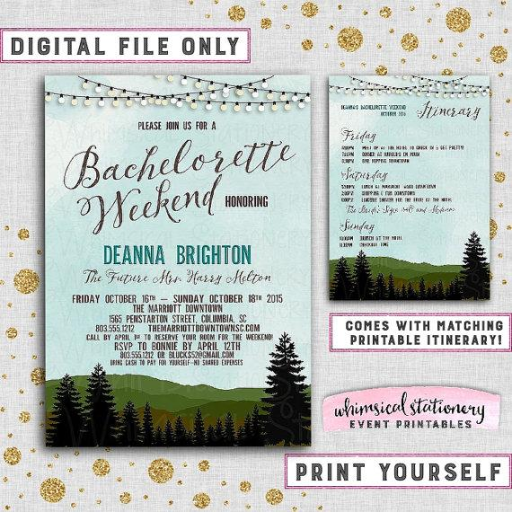 "Mariage - Bachelorette Camping Weekend Invitation and Itinerary ""Mountains & Pine, Blue Ridge"" (Printable File Only) Rustic Girl's Cabin Trees Lights"