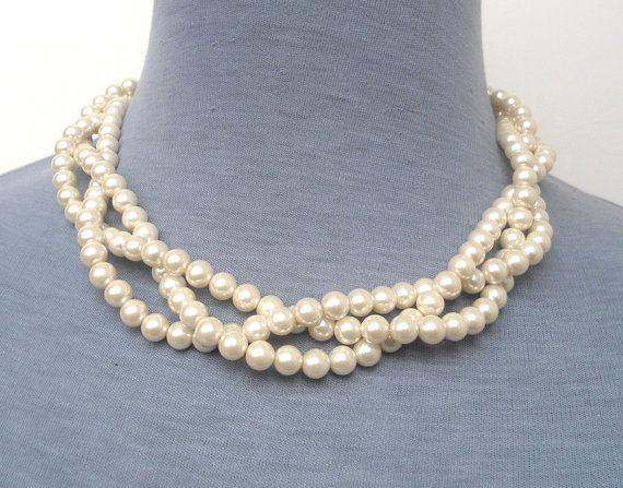 Mariage - Ivory Pearl Necklace, Triple Strand Pearl Necklace, Glass Pearl Necklace,Pearl necklace,Wedding Jewelry,Wedding necklace,Bridesmaid necklace