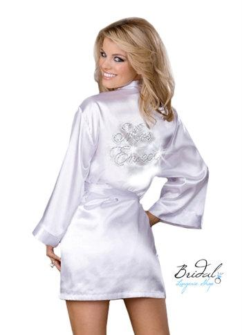 زفاف - Personalized Mrs. Satin Bridal Robe with New Last Name in Custom Crystal Rhinestones, wedding day lingerie, bridal lingerie, bride robe