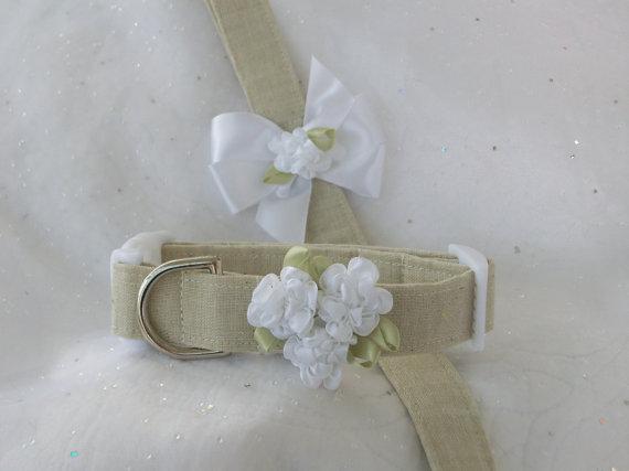 Свадьба - Wedding Leash and Collar Dog Collar Linen  Set