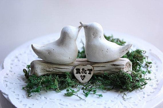 Bird Cake Topper - Clay Bird Cake Topper - Wedding Love Birds Cake ...