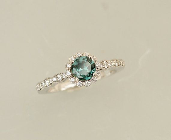 Mariage - Blue Green Sapphire Engagement Ring in 14k White Gold Diamond Halo Flower Style Gemstone Engagement Ring Wedding Anniversary