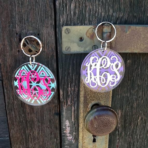 Aztec ROUND Acrylic Monogram Keychain - Personalized - Stocking Stuffers - Bridesmaid Gifts - Big Little Sorority