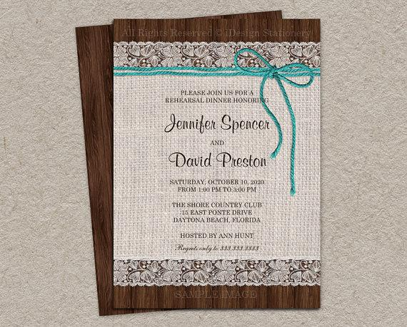 Mariage - Rustic Rehearsal Dinner Invitation With Burlap, Lace And Turquoise Twine - DIY Printable Rustic Wedding Rehearsal Invitation
