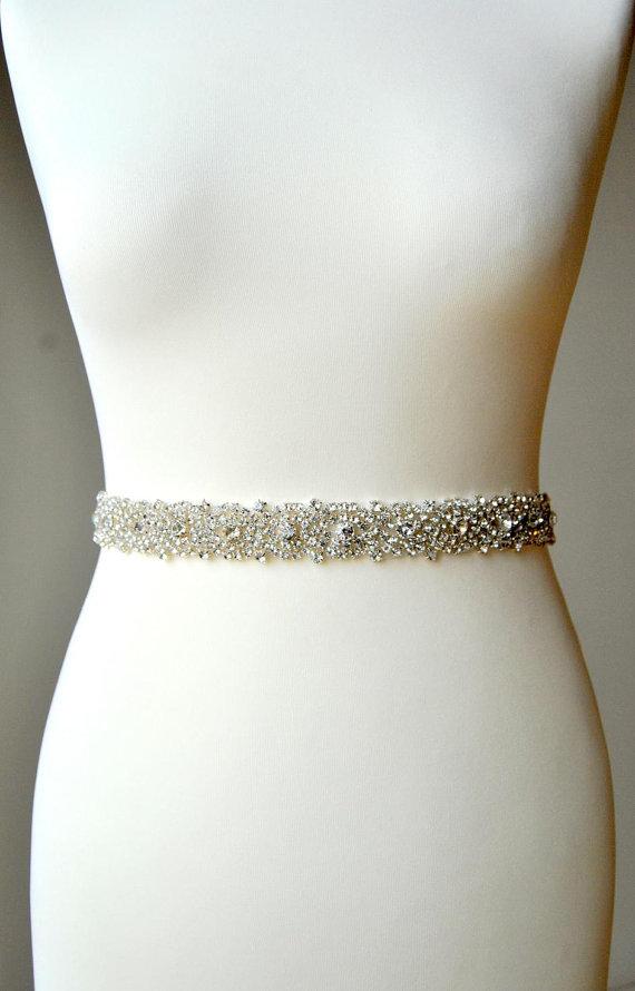 Mariage - Reserved for Ashley Stunning Crystal Bridal Sash,Wedding Dress Sash Belt, Rhinestone Bridal Bridesmaid Sash Belt, Wedding dress sash