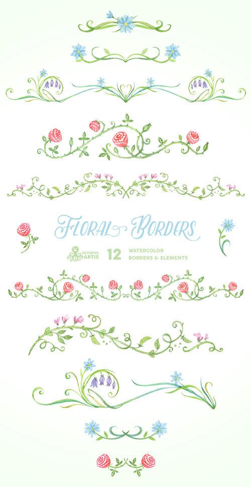 Mariage - Floral Borders & Elements. 12 Digital Clipart. Hand painted, wedding elements, flowers, invitation diy, frames, embellishment, ornamental.
