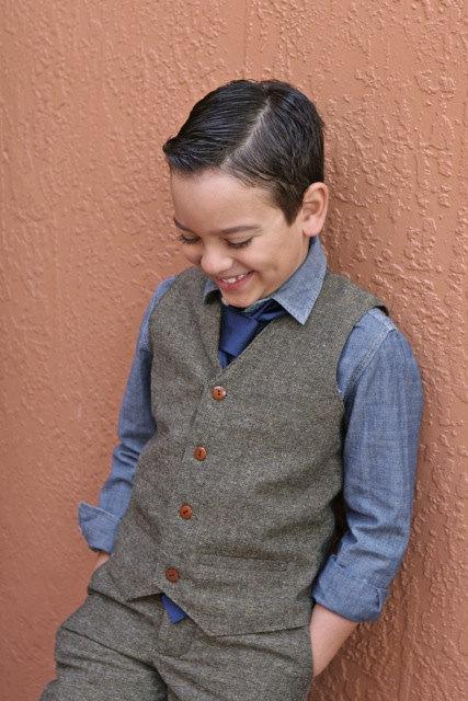 Mariage - Tweed wool Pants and vest t set ring bearer baptism baby boy suit birthday boy suit christening
