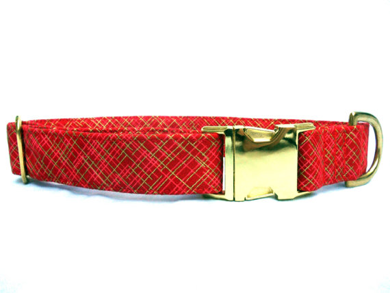 زفاف - Dog Collar , RED METALLIC Gold, Handmade
