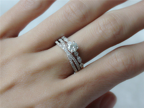 14k White Gold Ring SET 5mm Round Moissanite Engagement Ring And Antique Diamond  Ring Wedding Band Stacking Ring Engagement Ring