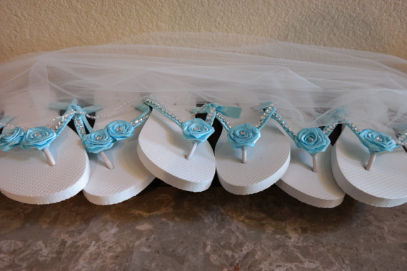 Wedding Party Gifts For Bridesmaids: Bridesmaids Flip Flops Set, Personalized Bridesmaid Gifts