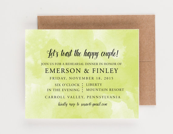 Mariage - Watercolor Rehearsal Dinner Invitation, Bridal Luncheon, or Party Invitation