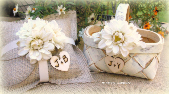 Shabby Chic Beach Pillows : Flower Girl Basket And Ring Bearer Pillow SET Rustic Beach Or Shabby Chic Wedding Personalized ...