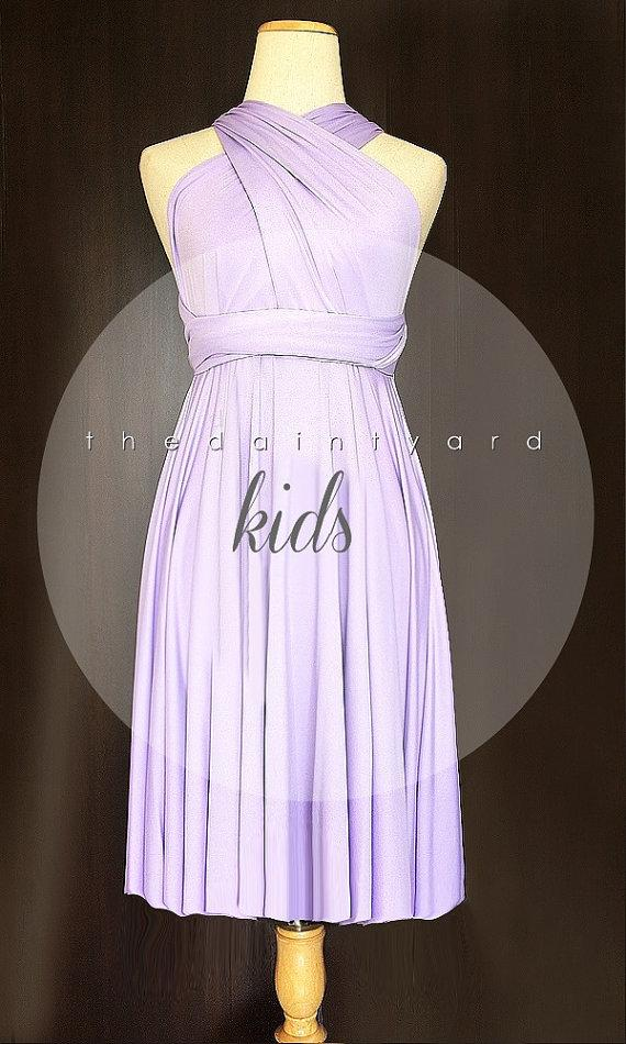 زفاف - KIDS Lilac Bridesmaid Dress Convertible Dress Infinity Dress Multiway Dress Wrap Dress Light Purple Pastel Wedding Dress Flower Girl Dress