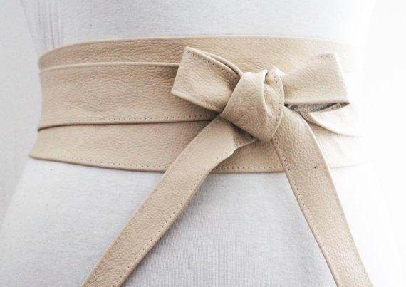 Mariage - SALE Cream Leather Obi Belt