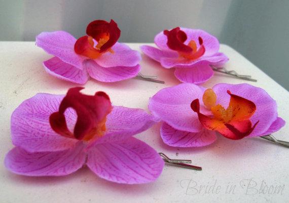 Свадьба - Wedding hair accessories Lavender pink orchid bobby pins set of 4 Bridal hair flowers