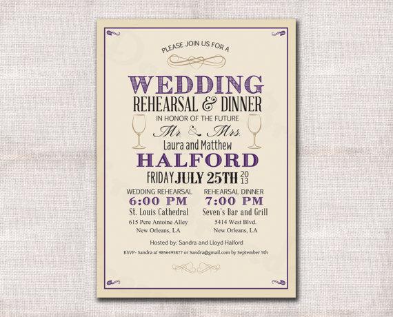 Mariage - Wedding Rehearsal Dinner invitation custom printable