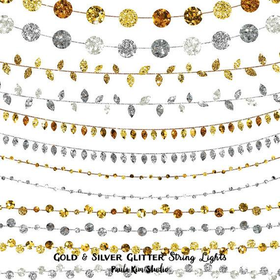 80% OFF SALE Glitter Clipart String Lights, Wedding Invitation Clip Art,  Gold And Silver, Digital Instant Download, Commercial Use