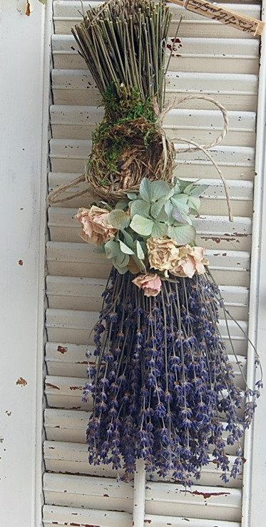 Mariage - Dried Lavender  Bouquet with Hydrangea Dried Roses and Birds Nest