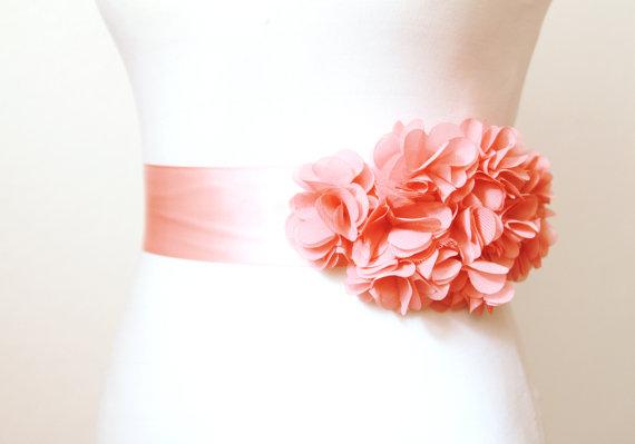 Mariage - Bridal Coral Chiffon Flower Sash Posh Ribbon Belt - Vintage Inspired Wedding Dress Sashes, Night Dress Belts