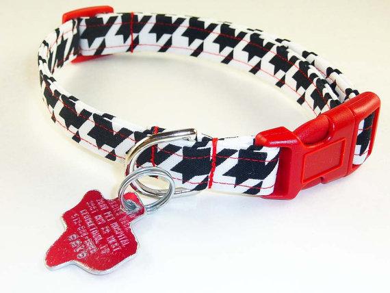 زفاف - Black White Large Houndstooth - Dog Collar - Adjustable