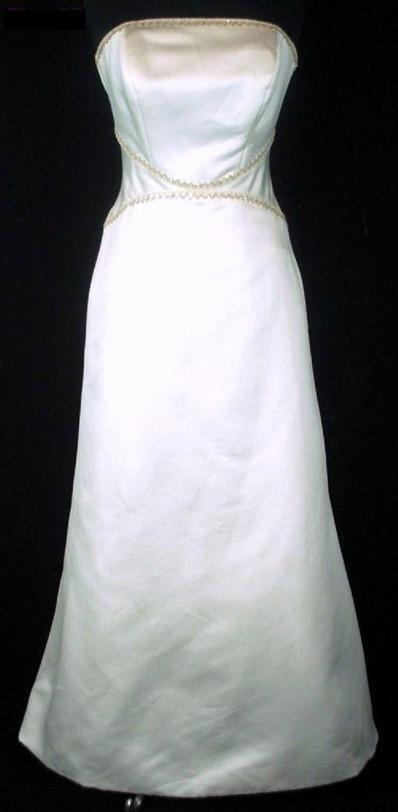 Mariage - CONTEMPORARY Gold Glass Bugle Bead & Sequin GRECIAN Strapless Ivory Satin Wedding Gown Dress Chapel Train Edwardian Vintage Cotillion