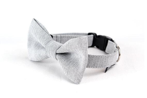 Свадьба - Dog Bow Tie - Chevron on Light Grey