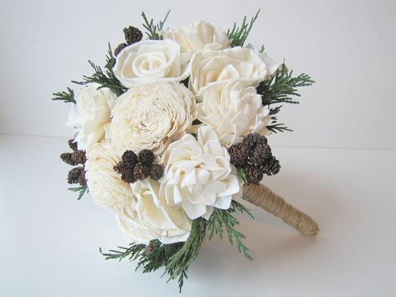 زفاف - Rustic Bridal Bouquet - Ivory Winter Bridal Bouquet - Bride's Bouquet - Woodland bridal bouquet - Wedding Bouquet  - Ivory Rustic Bouquet