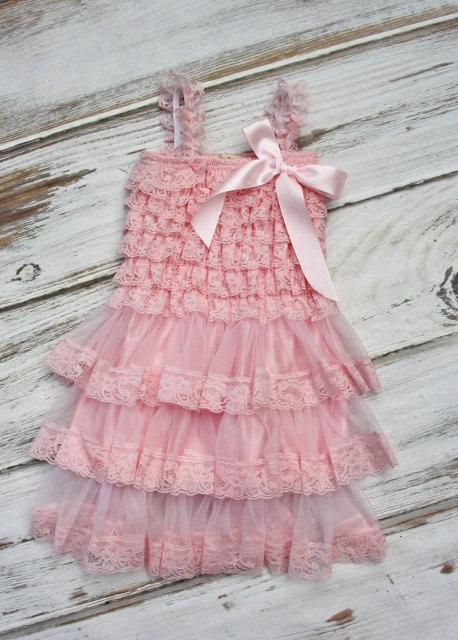 Wedding - Flower Girl Dress- Vintage Chic Flower Girl Dress- Flower Girl Dresses- Pink Girls Dress- Chiffon Dress- Rustic Wedding Dress