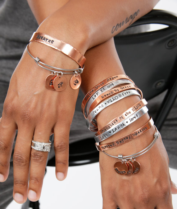 Engraved Personalized Hand Stamped Aluminum Or Copper Cuffs And Bangle Gift Made In The Usa Jewelry