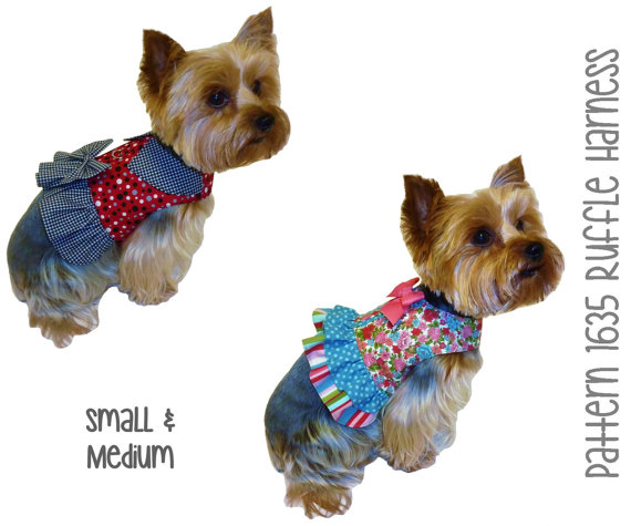 Ruffle Dog Harness Pattern 1635 * Small & Medium * Dog Clothes ...