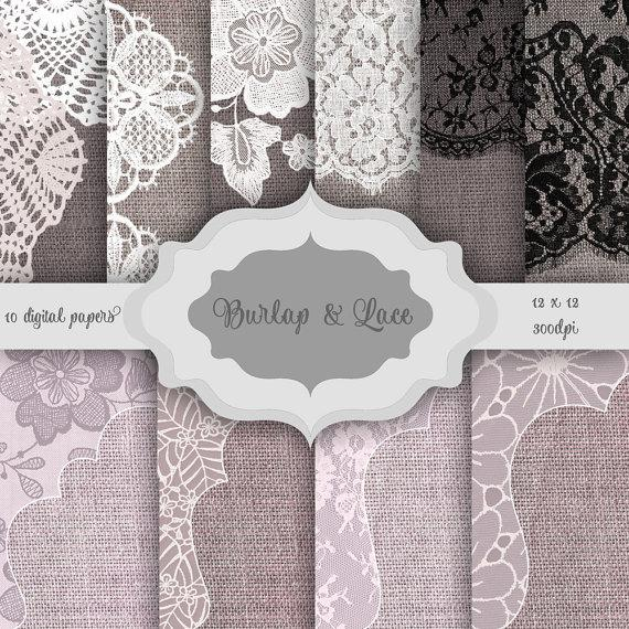 Mariage - Rustic Burlap & LACE Digital Paper Pack - Vintage lace burlap pattern backgrounds for scrapbooking, wedding invitations, bridal/baby shower