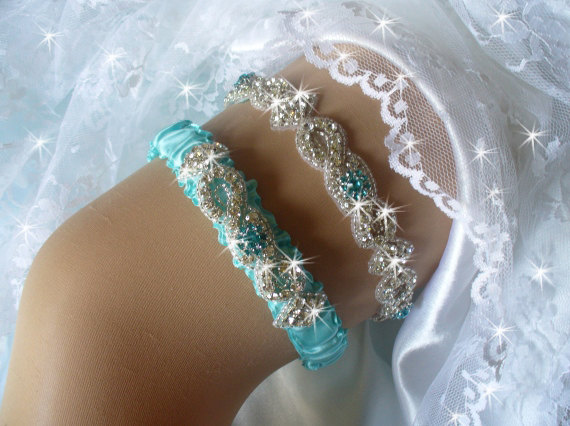 505676e21 Aqua Blue Wedding Garter Set Turquoise Belts