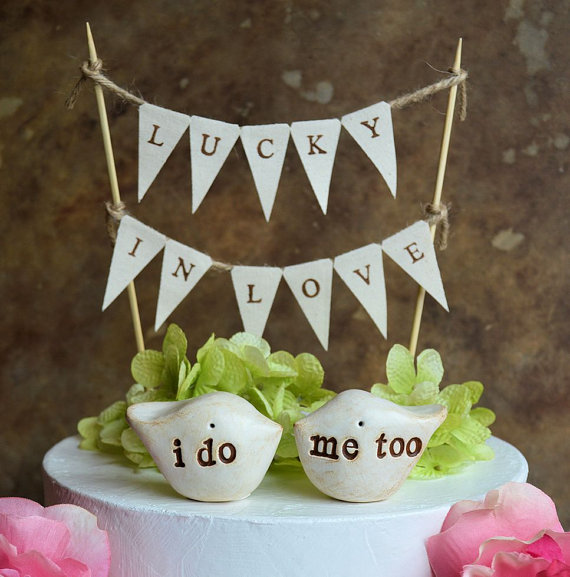 "زفاف - Wedding cake topper and ""lucky in love"" banner...package deal ... i do, me too love birds and fabric banner included"
