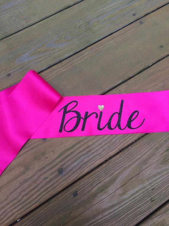 Mariage - Bachelorette Party Sash, Bridal Sash, Bride Sash, PINK