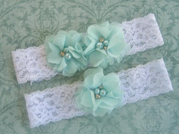 Mariage - Wedding Garter , Garter Set with Toss Garter in soft Green, Bridal Garter with Chiffon Blossoms pearls and rhinestones