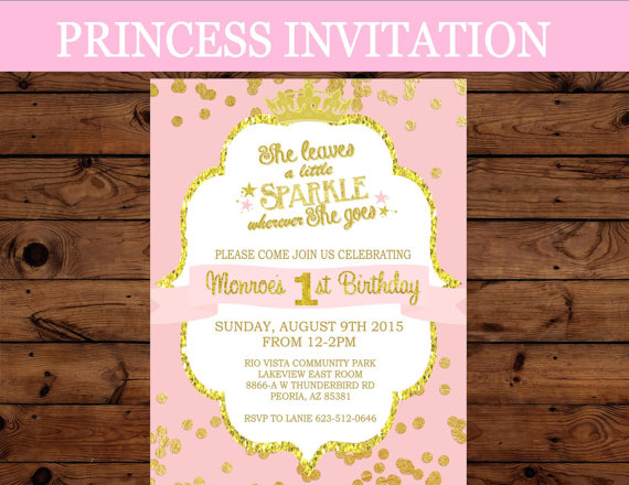Princess Invitation First Birthday INVITATION Crown Party – 1st Birthday Princess Invitation