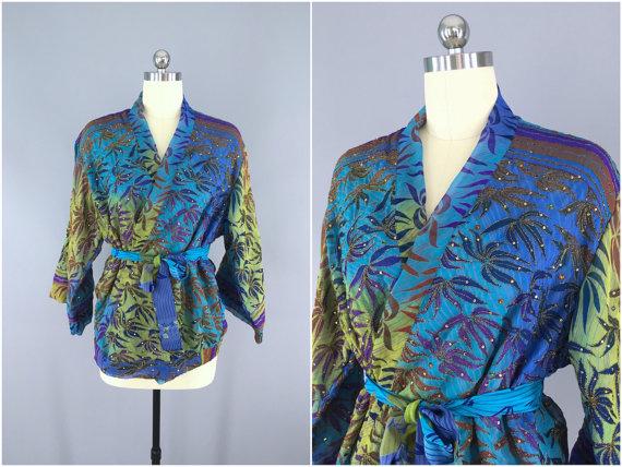 Silk Kimono Cardigan / Kimono Jacket / Vintage Indian Sari / Short ...
