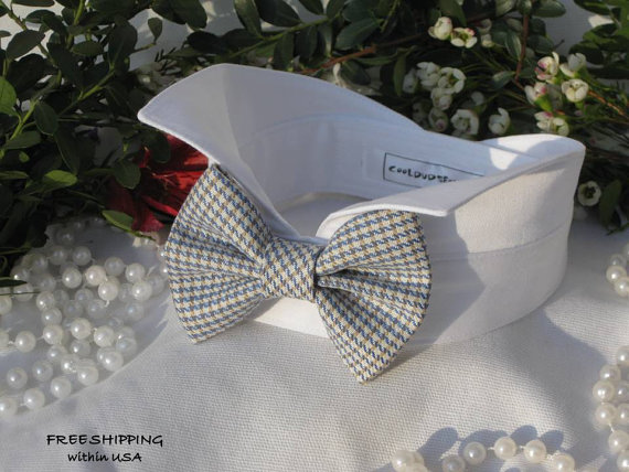 Свадьба - Tan&Blue Plaid Bow Wingtip Tuxedo Dog Collar ~ Wedding Dog Collar~Dog Tuxedo~Bow Tie Dog Collar~Free Shipping Within USA~