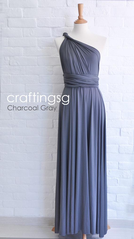 Wedding - Bridesmaid Dress Infinity Dress Charcoal Grey Floor Length Wrap Convertible Dress Wedding Dress