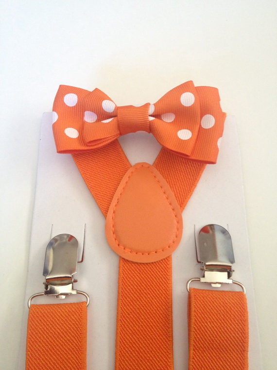 Mariage - Baby Bow tie Suspenders Set Orange Boys Bowtie Mens Bow ties Groomsmen Bowties Wedding Ring Bearer Outfit First Birthday Party Newborn Photo
