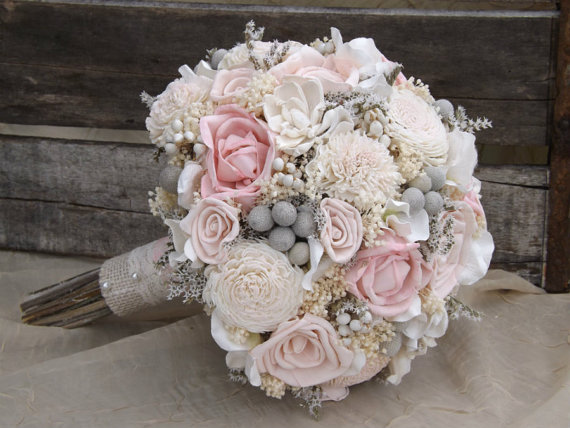 Sola Bouquet Pink Roses Blush With Dried Flowers Silver Brunia Tallow Berries Made To Order