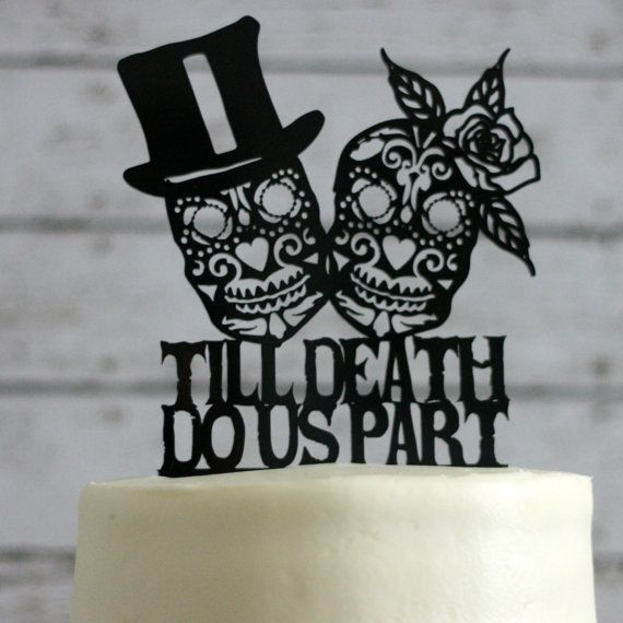 Day Of The Dead Wedding Cake Topper Skeleton Sugar Skull Zombie