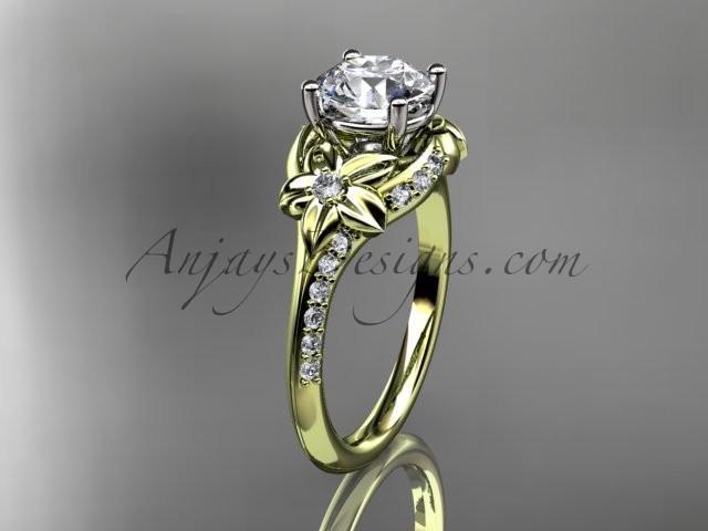 """زفاف - 14kt yellow gold diamond floral wedding ring, engagement ring with a """"Forever Brilliant"""" Moissanite center stone ADLR125"""