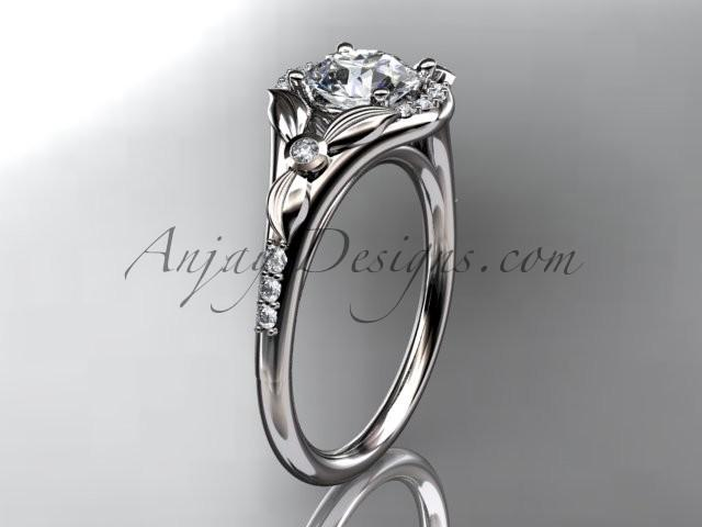 "Wedding - platinum floral wedding ring, engagement ring with a ""Forever Brilliant"" Moissanite center stone ADLR126"