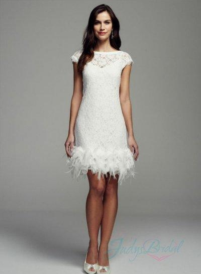 Wedding - JOL290 lovely little white short cap sleeves lace wedding dress