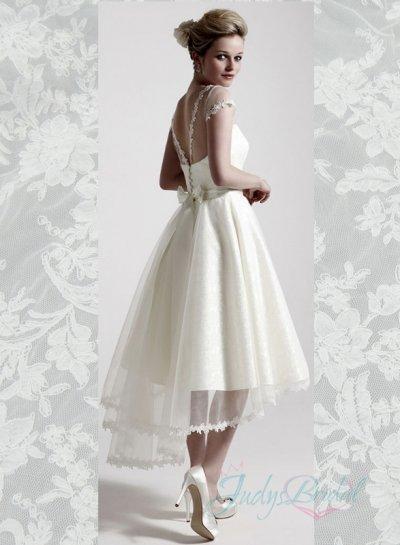 Mariage - JOL291 Sheer bateau top v back high low short wedding dress
