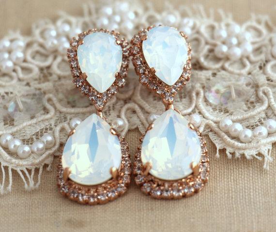 White Opal Chandelier Earrings Bridal Earnings Rose Gold Dangle Swarovski