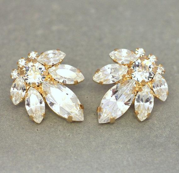 Bridal Stud Earrings Swarovski Crystal White Cer Bridesmaids